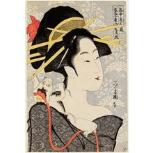 Chokosai Eisho: Motozue of the Daimonjiya, from the series Contest of Beauties of the Pleasure Quarters (Kakuchû bijin kurabe) - Museum of Fine Arts