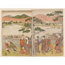 Katsukawa Shunzan: Visiting the Hachiman Shrine on the Banks of the Yodo River, a Triptych (Sanmaitsuzuki, Yodogawa tsutsumi Hachiman mairi no zu) - Museum of Fine Arts