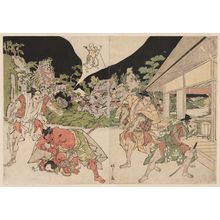 北尾政美: Minamoto Yorimitsu (Raikô) and His Retainers Attacking the Earth Spider (Tsuchigumo) - ボストン美術館