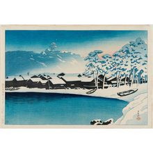 川瀬巴水: Dawn Snow at the Port of Ogi on Sado Island (Yuki no akebono [Sado Ogi minato]), from the series Souvenirs of Travel II (Tabi miyage dai nishû) - ボストン美術館