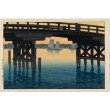 川瀬巴水: The Kaminohashi Bridge in Fukagawa, Tokyo (Tôkyô Kaminohashi), from the series Twelve Scenes of Tokyo (Tôkyô jûnidai) - ボストン美術館