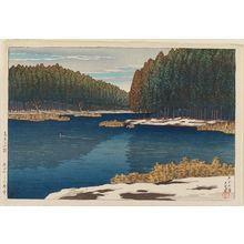 Kawase Hasui: Lingering Snow at Inokashira (Inokashira no zansetsu), from the series Twelve Scenes of Tokyo (Tôkyô jûnidai) - Museum of Fine Arts