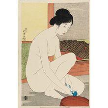 橋口五葉: Nude Woman with Towel and Basin - ボストン美術館