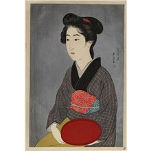 橋口五葉: Waitress with a Red Tray (Portrait of Onao, a Maid at the Matsuyoshi Inn, Kyoto) - ボストン美術館