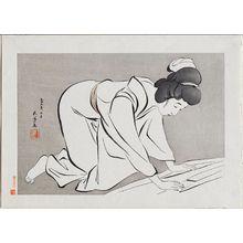 Hashiguchi Goyo: Woman Folding Kimono - Museum of Fine Arts