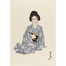 石井柏亭: Woman in Gray Kimono - ボストン美術館
