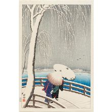 Ohara Koson: Snow on Willow Bridge - Museum of Fine Arts