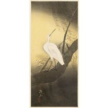 Maki Sozan: Snowy egret on willow branch - ボストン美術館