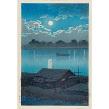 川瀬巴水: Moon on the Arakawa River in Akabane (Arakawa no tsuki [Akabane]), from the series Twenty Views of Tokyo (Tôkyô nijûkei) - ボストン美術館