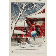 川瀬巴水: Snow at Kiyomizu Hall, Ueno (Ueno Kiyomizu-dô no yuki) - ボストン美術館