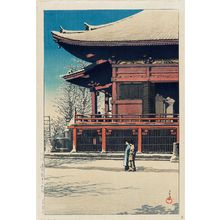 Kawase Hasui: Sunshine after Snow at the Kannon Temple, Asakusa (Asakusa Kannon no yukibare), from the series Twenty Views of Tokyo (Tôkyô nijûkei) - Museum of Fine Arts