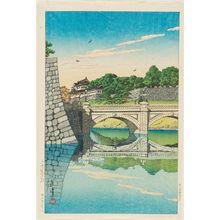川瀬巴水: Morning at Nijû Bridge (Nijûbashi no asa) - ボストン美術館