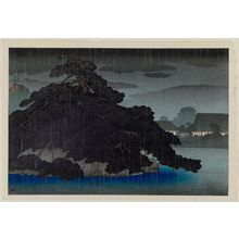 Kawase Hasui: Evening Rain on the Pine Island, from an untitled series of views of the Mitsubishi villa in Fukagawa - Museum of Fine Arts