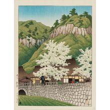 川瀬巴水: Cherry Trees at Kakise, Bungo Province (Bungo Kakise), from the series Selected Views of Japan (Nihon fûkei senshû) - ボストン美術館