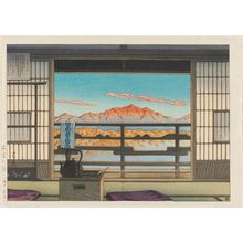 川瀬巴水: Morning at the Hot-spring Resort in Arayu, Shiobara (Yuyado no asa [Shiobara Arayu]) - ボストン美術館