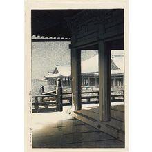 Kawase Hasui: Evening Snow at Kiyomizu Temple (Kiyomizu-dera no bosetsu) - Museum of Fine Arts