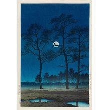 川瀬巴水: Winter Moon at Toyamagahara (Fuyu no tsuki [Toyamagahara]) - ボストン美術館