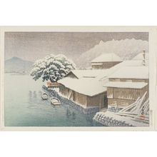 Kawase Hasui: Evening Snow at Ishinomaki (Ishinomaki no bosetsu), from the series Collected Views of Japan, Eastern Japan Edition (Nihon fûkei shû higashi Nihon hen) - Museum of Fine Arts