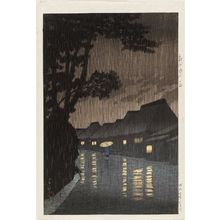 川瀬巴水: Rain at Maekawa in Sagami Province (Sôshû Maekawa no ame), from the series Selected Views of the Tôkaidô Road (Tôkaidô fûkei senshû) - ボストン美術館