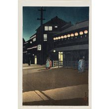 川瀬巴水: Evening at Sôemon-chô in Osaka (Ôsaka Sôemon-chô no yû), from the series Collected Views of Japan II, Kansai Edition (Nihon fûkei shû II Kansai hen) - ボストン美術館