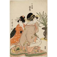Kitagawa Utamaro: Hinazuru of the Chôjiya, from an untitled series of courtesans arranging flowers - Museum of Fine Arts