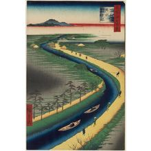 Utagawa Hiroshige: Towboats along the Yotsugi-dori Canal (Yotsugi-dôri yôsui hikifune), from the series One Hundred Famous Views of Edo (Meisho Edo hyakkei) - Museum of Fine Arts