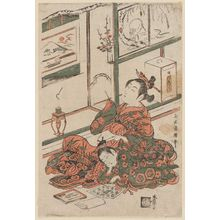 鳥居清廣: Courtesan Writing and Kamuro Reading - ボストン美術館