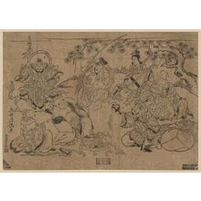 鳥居清満: The Seven Gods of Good Fortune (Shichifukujin) Holding a Party under a Pine Tree - ボストン美術館