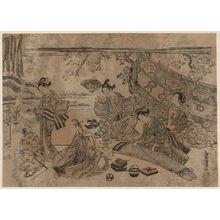 Torii Kiyomitsu: Picnic under Cherry Blossoms - Museum of Fine Arts