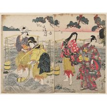 Kikugawa Eizan: Yukihira and the Brine Carriers (Matsukaze and Murasame) - Museum of Fine Arts