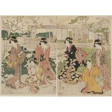 Torii Kiyomine: Women Dancing in a Plum Garden - Museum of Fine Arts
