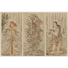 Katsukawa Shunsho: Actors Sawamura Sôjûrô III as Kongara Dôji (R), Ichikawa Danjûrô V as a Stone Image of Fudô (C), and Ichikawa Yaozô II as Seitaka Dôji (L) - Museum of Fine Arts