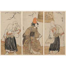 Katsukawa Shunsho: Actors Arashi Sangorô II as Saigyô Hôshi (R), Nakamura Tomijûrô I as Yokobue (C), and Ôtani Hiroji III as Mongaku Shônin (L) - Museum of Fine Arts