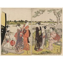Hosoda Eishi: Women Disembarking from a Riverboat - Museum of Fine Arts