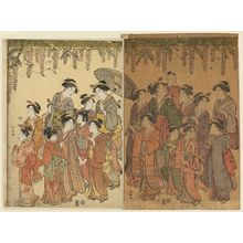 勝川春潮: Procession of Students Offering a Votive Tablet to a Shrine under a Wisteria Trellis - ボストン美術館