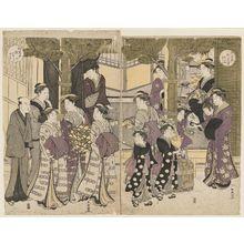 勝川春潮: New Year's Day in the Yoshiwara - ボストン美術館
