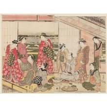 勝川春潮: Party in a Second-floor Room in the Yoshiwara - ボストン美術館