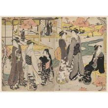 細田栄之: Hana no en, from the series Genji in Fashionable Modern Guise (Fûryû yatsushi Genji) - ボストン美術館
