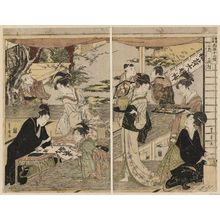 Utagawa Toyohiro: The Second Month, a Triptych (Nigatsu, sanmaitsuzuki), from the series Twelve Months by Two Artists, Toyokuni and Toyohiro (Toyokuni Toyohiro ryôga jûnikô) - Museum of Fine Arts