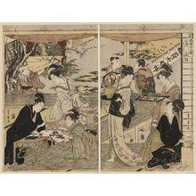 歌川豊広: The Second Month, a Triptych (Nigatsu, sanmaitsuzuki), from the series Twelve Months by Two Artists, Toyokuni and Toyohiro (Toyokuni Toyohiro ryôga jûnikô) - ボストン美術館