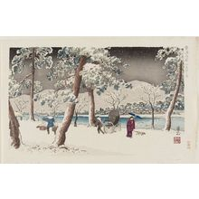 Nomura Yoshimitsu: Snow on the banks of the Kamo River (Kamo tsutsumi no yuki) from the series Kyoraku Meisho (Famous places about Kyoto). - Museum of Fine Arts