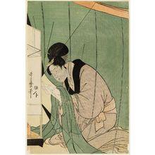 喜多川歌麿: Woman Reading a Letter under a Mosquito Net - ボストン美術館