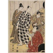 Utagawa Toyokuni I: Four actors off stage - Museum of Fine Arts