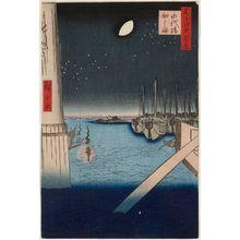 歌川広重: Tsukudajima from Eitai Bridge (Eitaibashi Tsukudajima), from the series One Hundred Famous Views of Edo (Meisho Edo hyakkei) - ボストン美術館