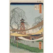 歌川広重: Hatsune Riding Grounds, Bakuro-chô (Bakuro-chô Hatsune no Baba), from the series One Hundred Famous Views of Edo (Meisho Edo hyakkei) - ボストン美術館