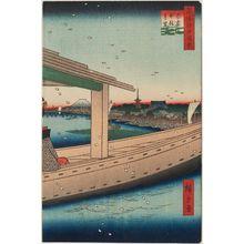 Utagawa Hiroshige: Distant View of Kinryûzan Temple and Azuma Bridge (Azumabashi Kinryûzan enbô), from the series One Hundred Famous Views of Edo (Meisho Edo hyakkei) - Museum of Fine Arts