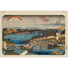 渓斉英泉: Sunset Glow at Ryôgoku Bridge (Ryôgoku-bashi no sekishô), from the series Eight Views of Edo (Edo hakkei) - ボストン美術館