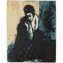 Onchi Koshiro: Woman with Hand on Chin - Museum of Fine Arts