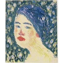 恩地孝四郎: Head of a Young Girl (Shôjo) - ボストン美術館