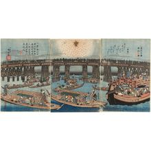 Utagawa Hiroshige: Pleasure Boats at Ryôgoku Bridge in the Eastern Capital, a Triptych (Tôto Ryôgoku yûsen no zu, sanmaitsuzuki) - Museum of Fine Arts